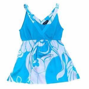 BEBE Silk Turquoise/White Flowy Blouse